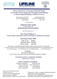 Humanitarian Dinner on the 2nd June in New York for the unaccompanied refugee children